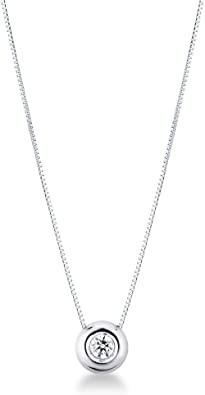Collana Punto Luce in Oro Bianco 18 ct e Diamante 0.10 ct