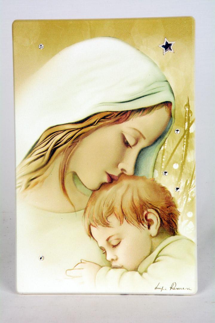 Quadro Madonna con Bambino in Legno Laccato 15x10 cm