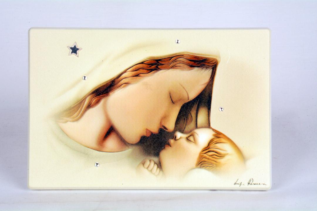 Quadro Madonna con Bambino in Legno Laccato 15x10 cm 050212