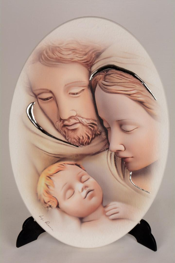 Quadro Sacra Famiglia in Legno Laccato 33x23 054422