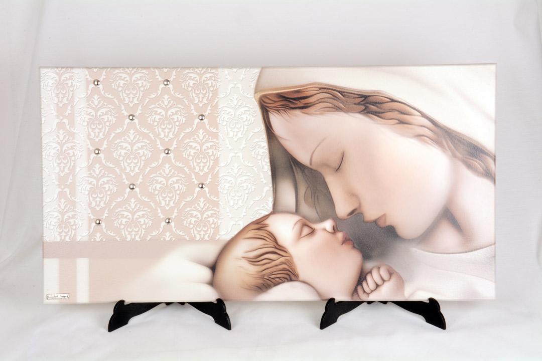 Quadro Madonna con Bambino in Legno Laccato 64x34 cm 050613