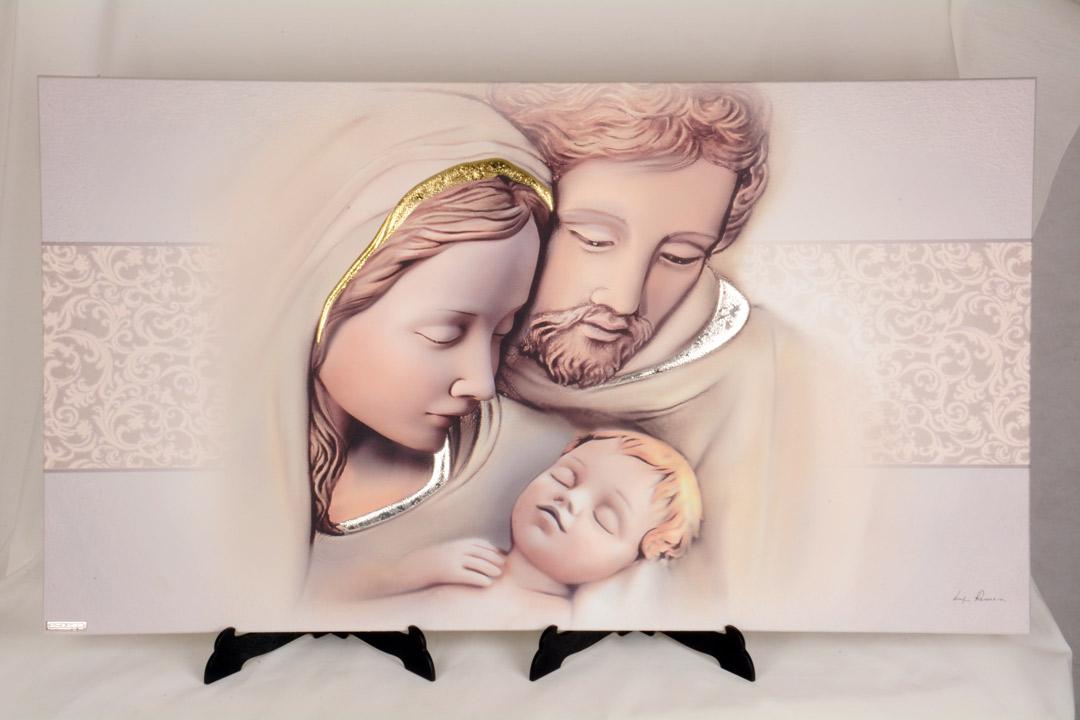 Quadro Sacra Famiglia in Legno Laccato 80x40 050716