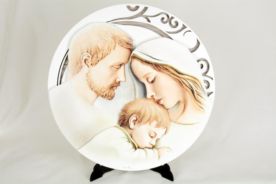 Quadro Moderno Sacra Famiglia Rotondo Legno con Finiture in Argento 40 cm