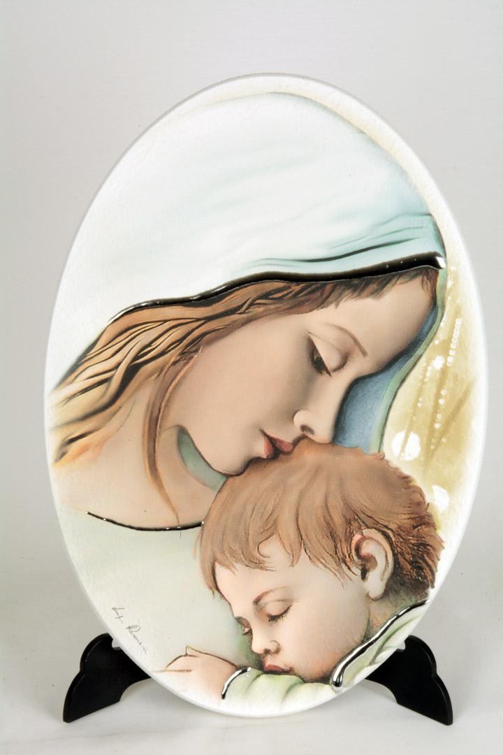 Quadro Moderno Madonna con Bambino Ovale Legno con Finiture in Argento 33x23 cm