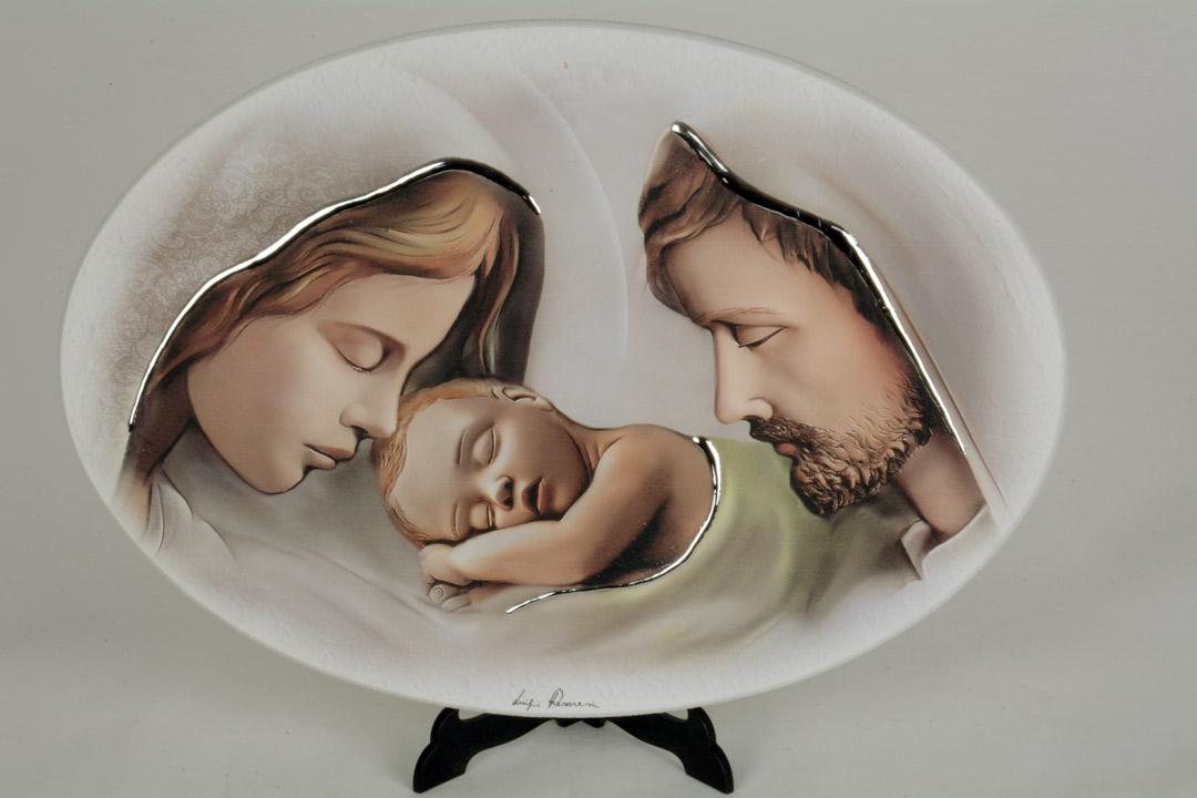 Quadro Moderno Sacra Famiglia Ovale Legno Decorato Finiture in Argento 33x23