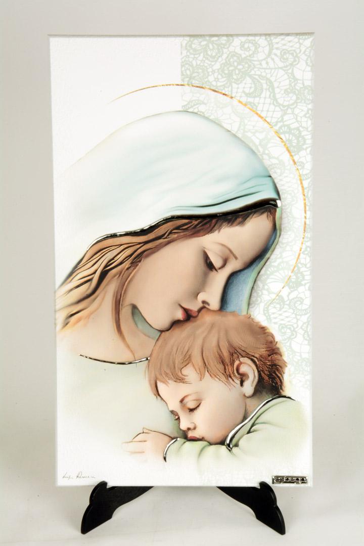 Quadro Moderno Madonna con Bambino in Legno con Finiture in Argento 40x23 cm