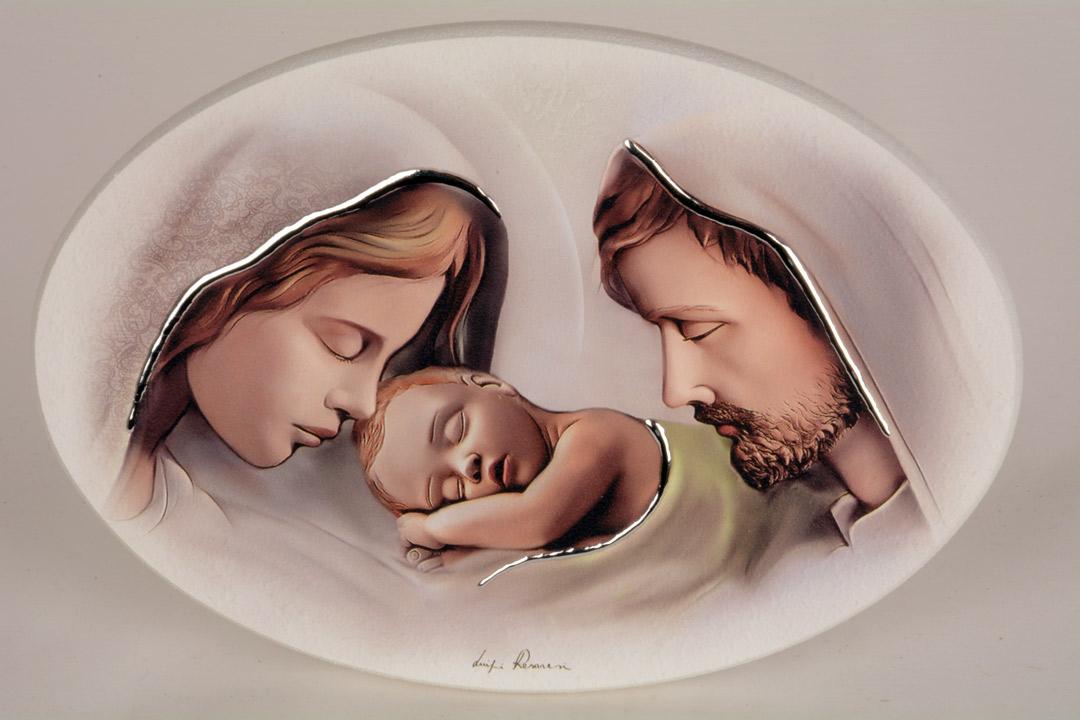 Quadro Moderno Sacra Famiglia Legno Decorato Finiture in Argento 24x17 cm