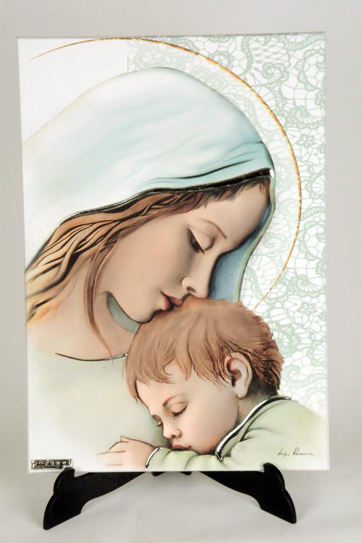 Quadro Moderno Madonna con Bambino inLegno Decorato 33x23 cm