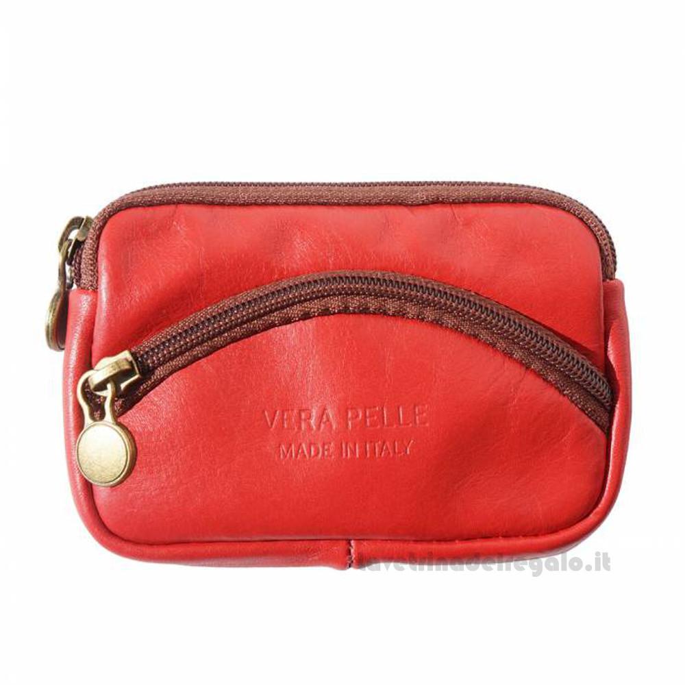 Portamonete donna Rosso con Zip in pelle - Pelletteria Fiorentina