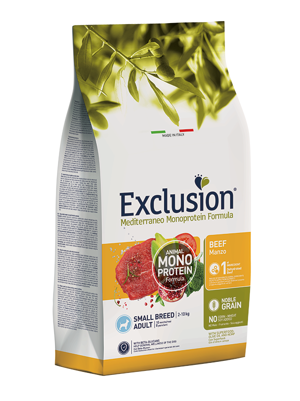 EXCLUSION MEDITERRANEO  NOBLE GRAIN ADULT BEEF SMALL BREED 2kg