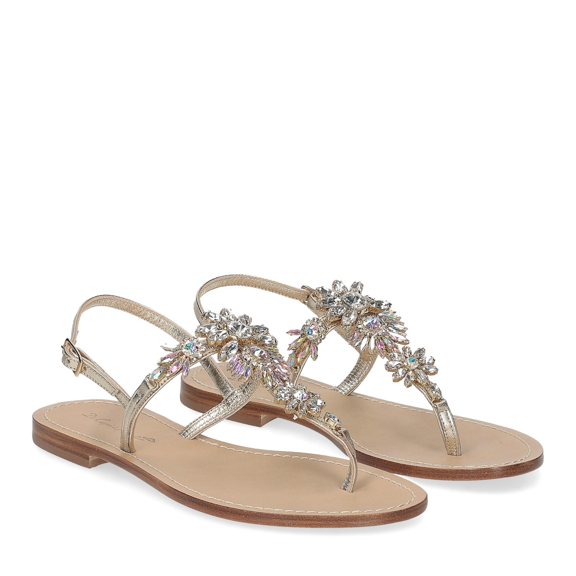 De Capri a Paris sandalo infradito gioiello pelle platino