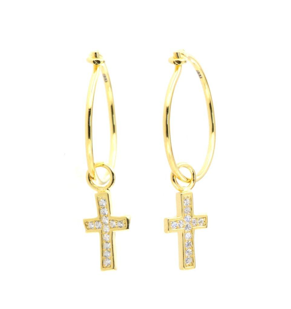 By Simon - Orecchini in argento placcati oro giallo con croce