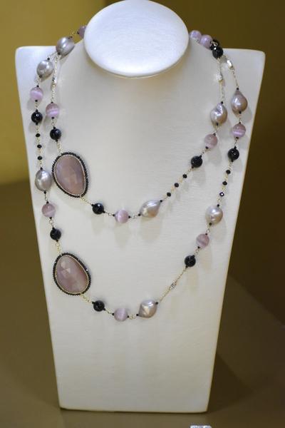 Sikè Jewels: collana in argento con pietre Swarovski , onice, zirconi e perle