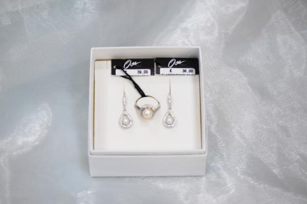 Osa gioielli, anello e orecchini in argento 925 , pietre Swarovski e perla coltivata