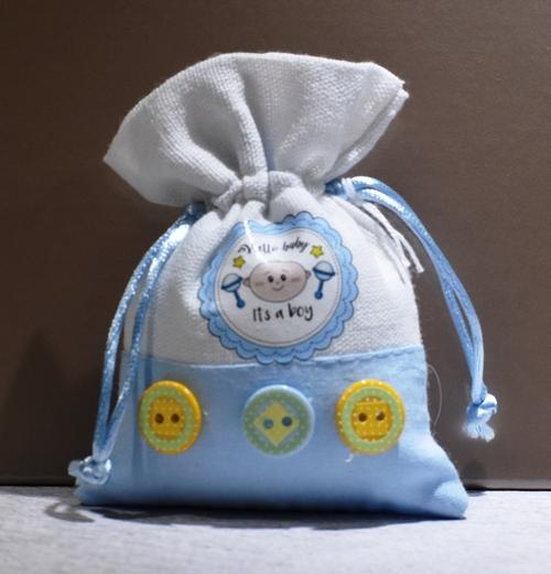 Sacchetto Hallo Baby azzurro  (confetti vari gusti e tipologie)