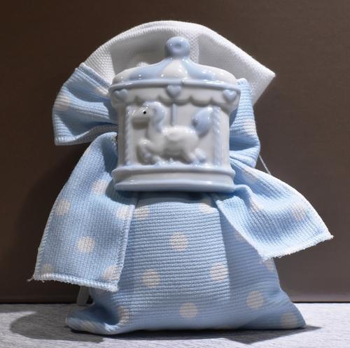 Sacchetto pois azzurro con Giostra  (confetti vari gusti e tipologie)