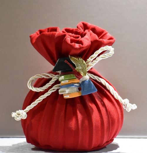 Sacchetto plissè Rosso con Libri e Tocco (confetti vari gusti e tipologie)