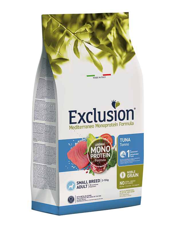 EXCLUSION MEDITERRANEO  NOBLE GRAIN ADULT TONNO SMALL BREED 500gr