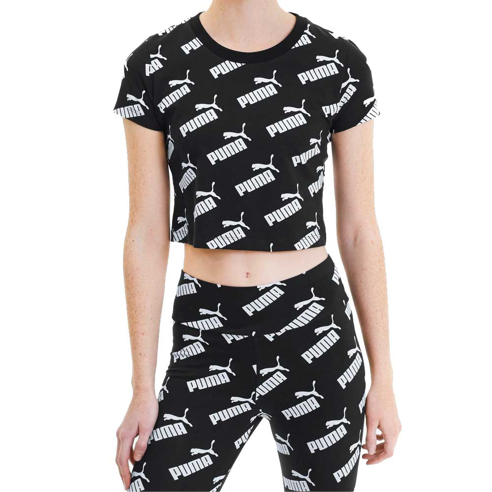 Puma Top Multi Scritte Black/White da Donna