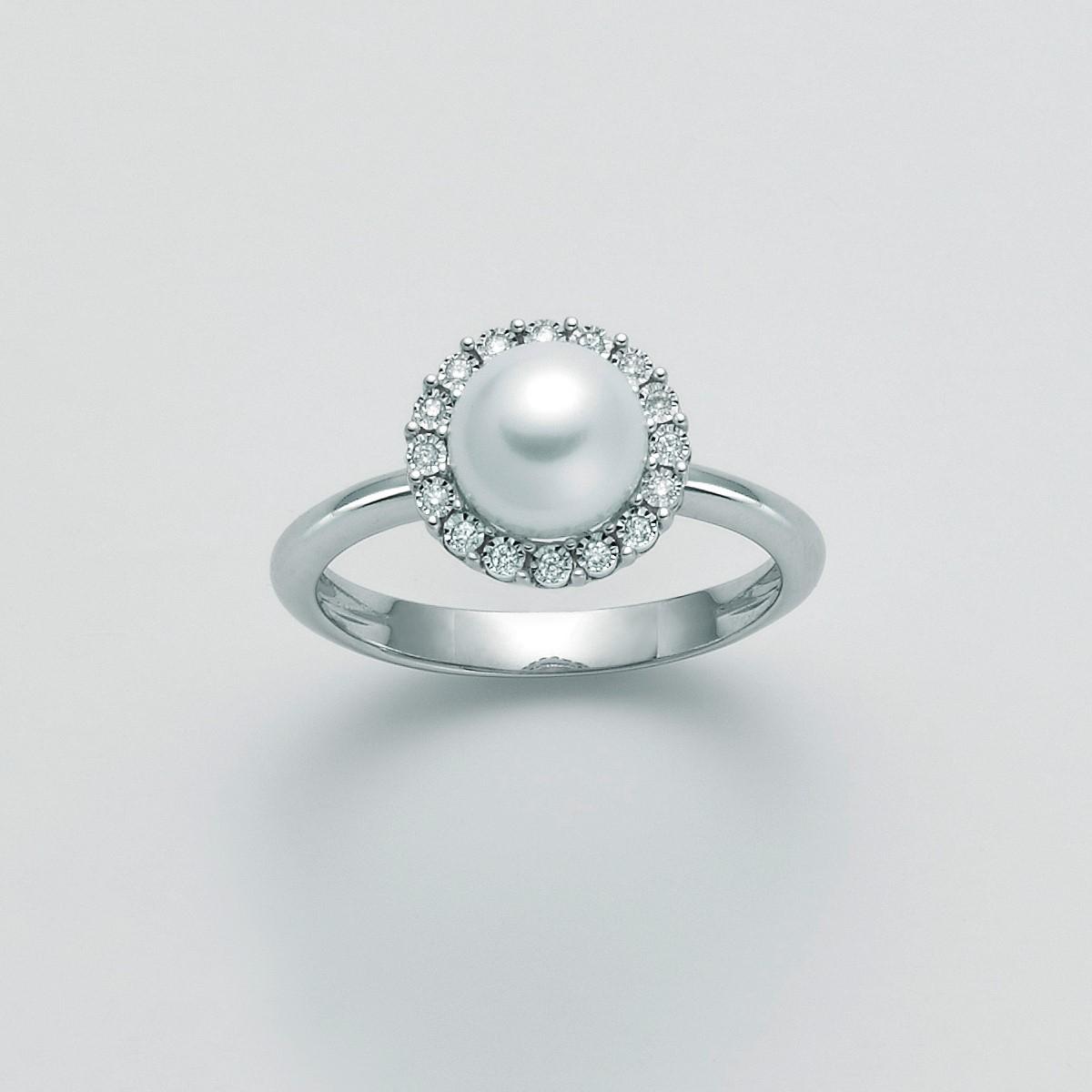 MILUNA-Anello con perla e diamanti