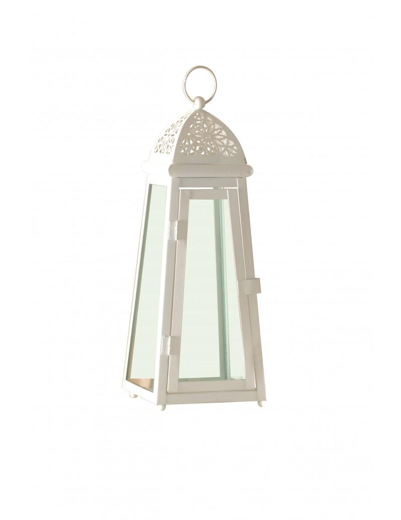 Lanterna in metallo a forma piramidale bianco