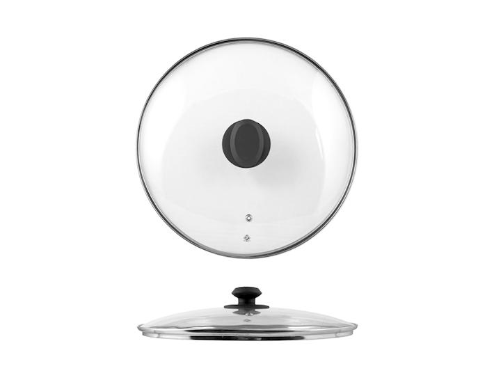 Coperchio in vetro con bordo in acciaio cm24