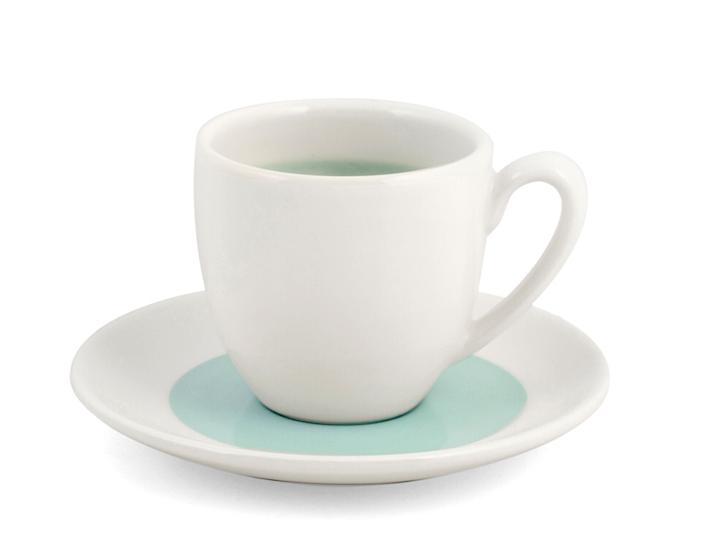 Tazza caffé con piattino bianco e azzurro soleil