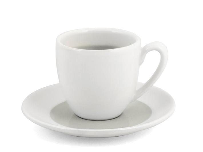Tazza caffé con piattino bianco e grigio soleil