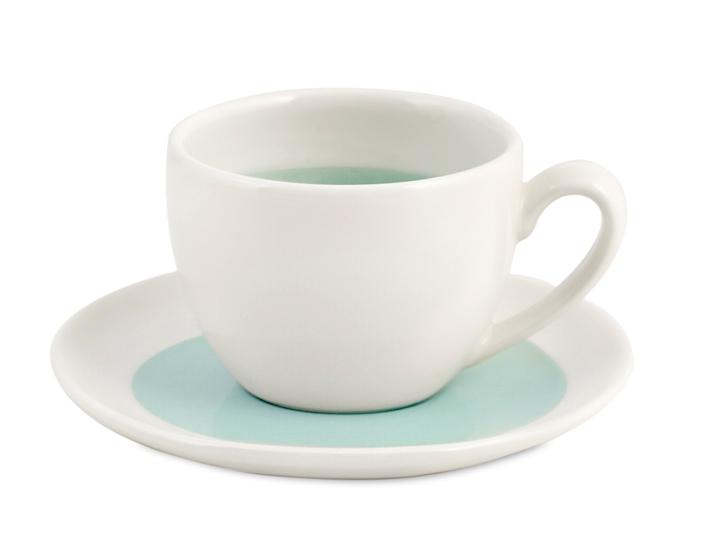 Tazzina té con piattino bianco e azzurro soleil