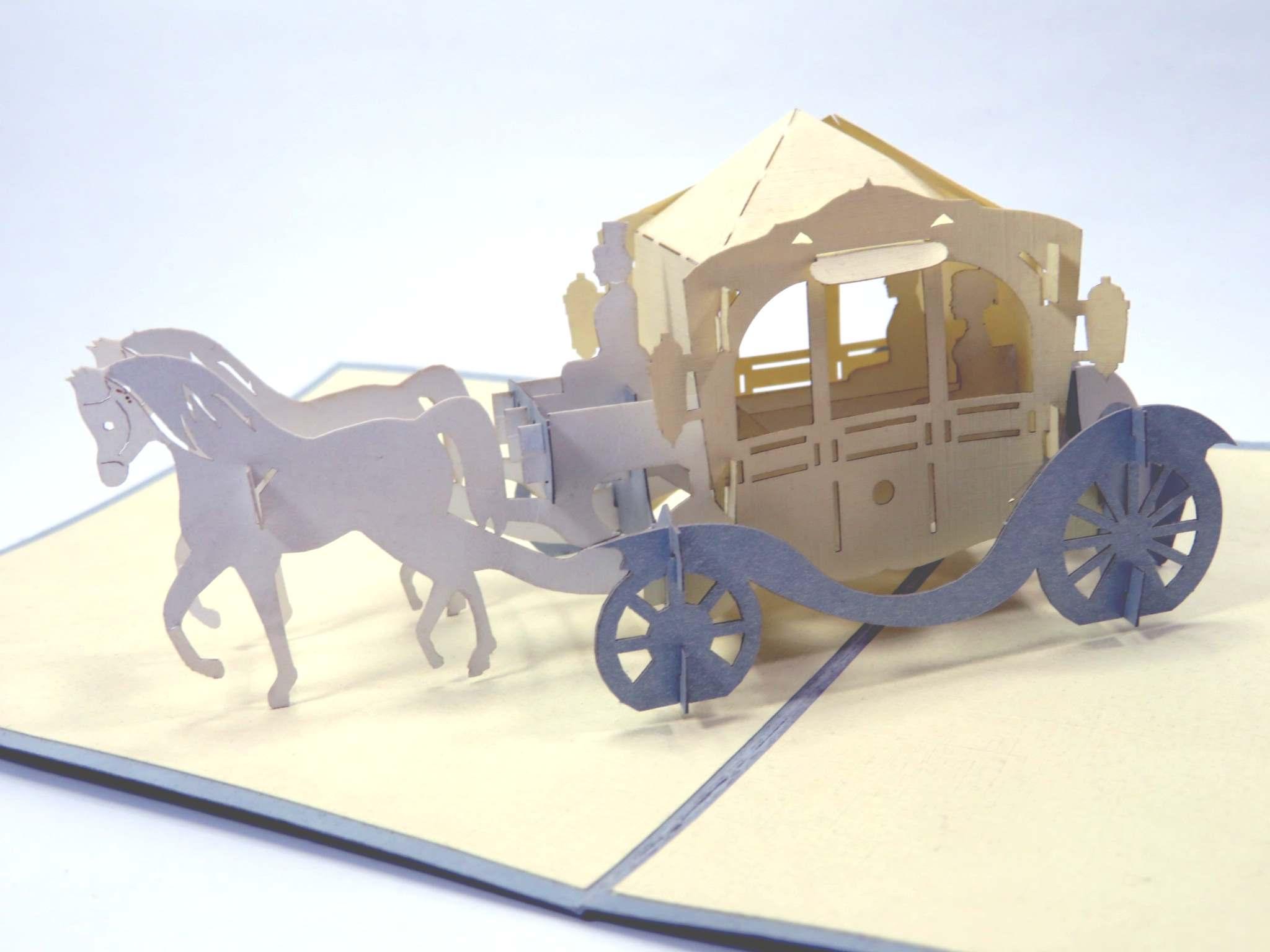 Biglietto augurale Carrozza con cavalli Origamo