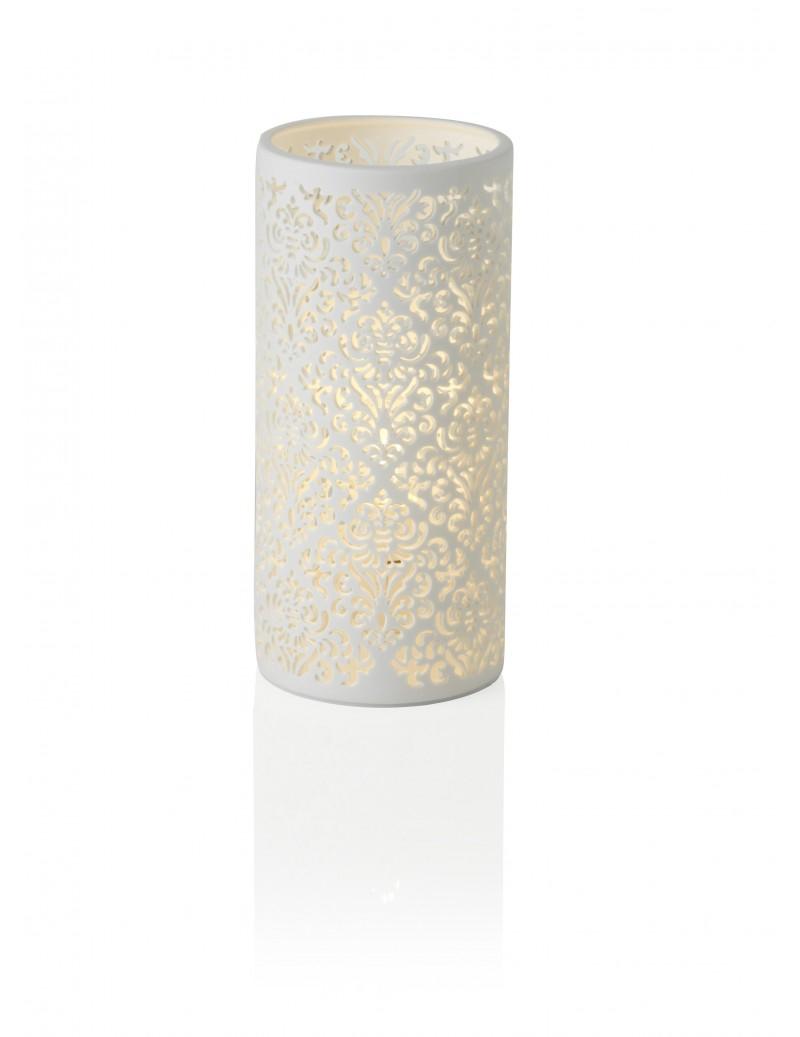 Lampada arredo bianca in porcellana traforata h24cm