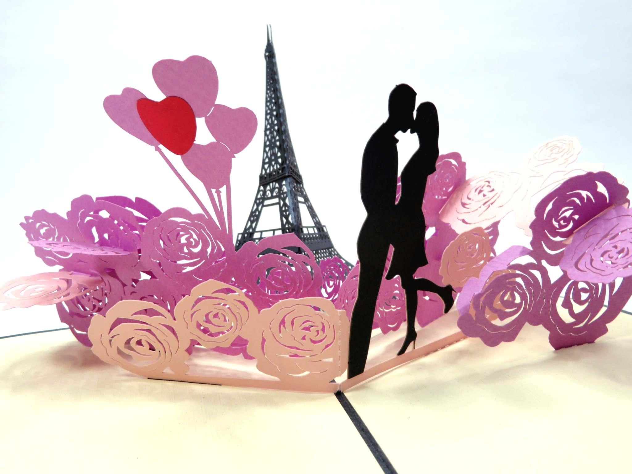 Biglietto augurale in filigrana 'Amare Parigi' Origamo