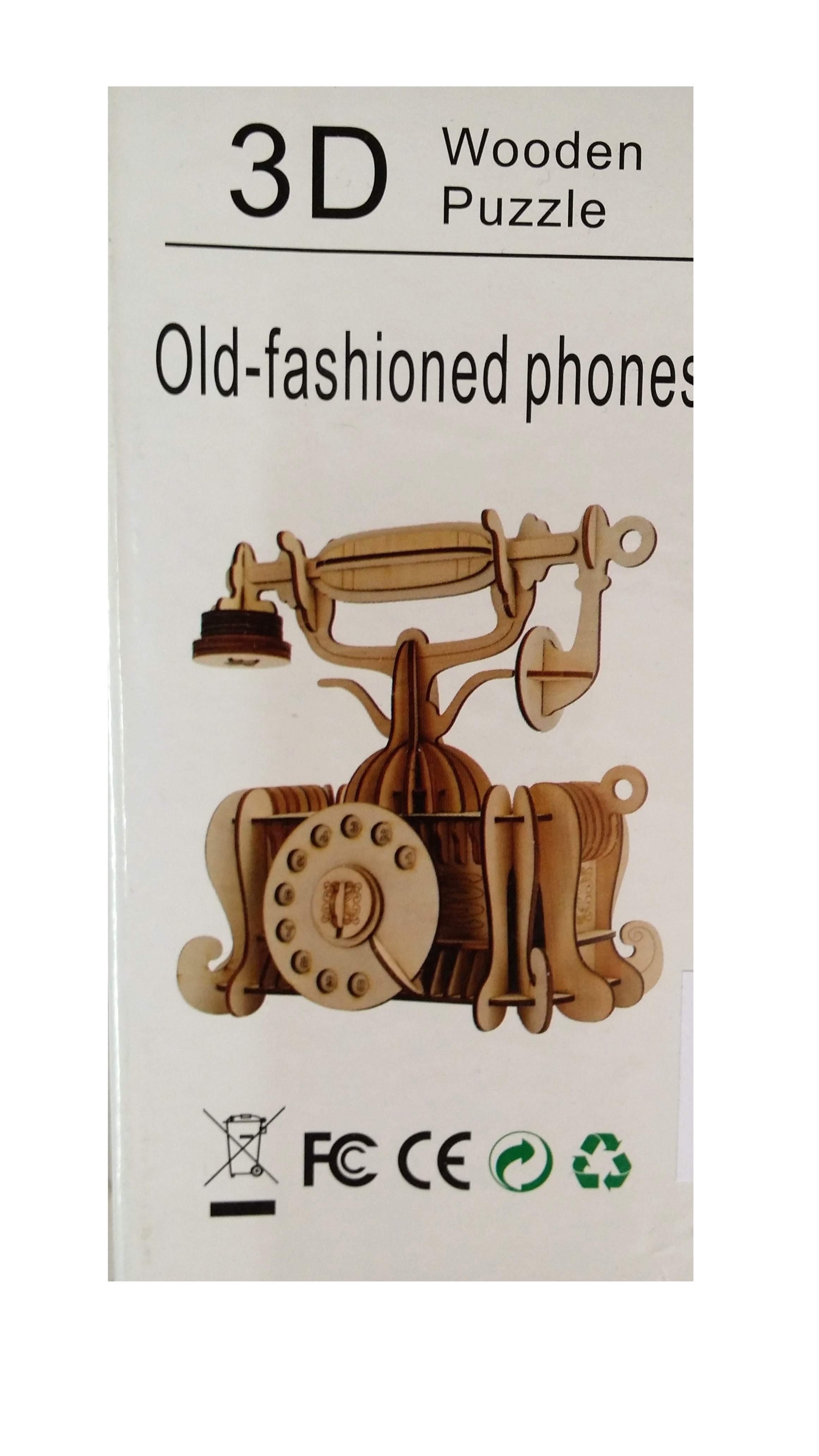 Puzzle 3D Telefono in legno