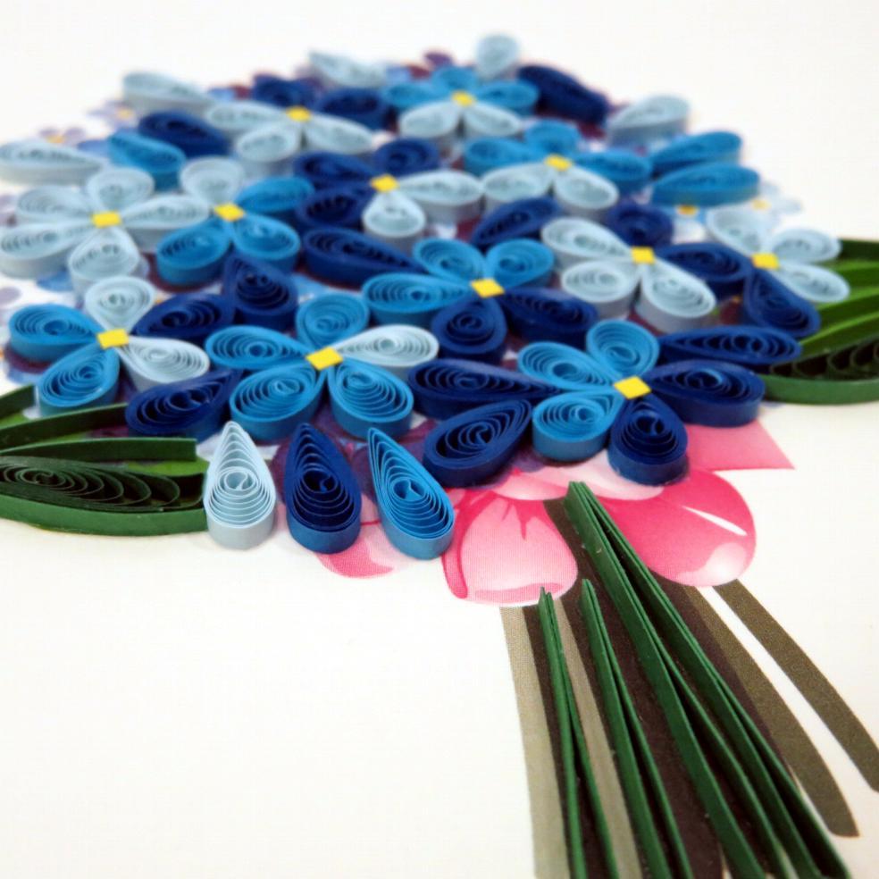 Biglietto augurale in filigrana 'mazzolin di fiori' Origamo