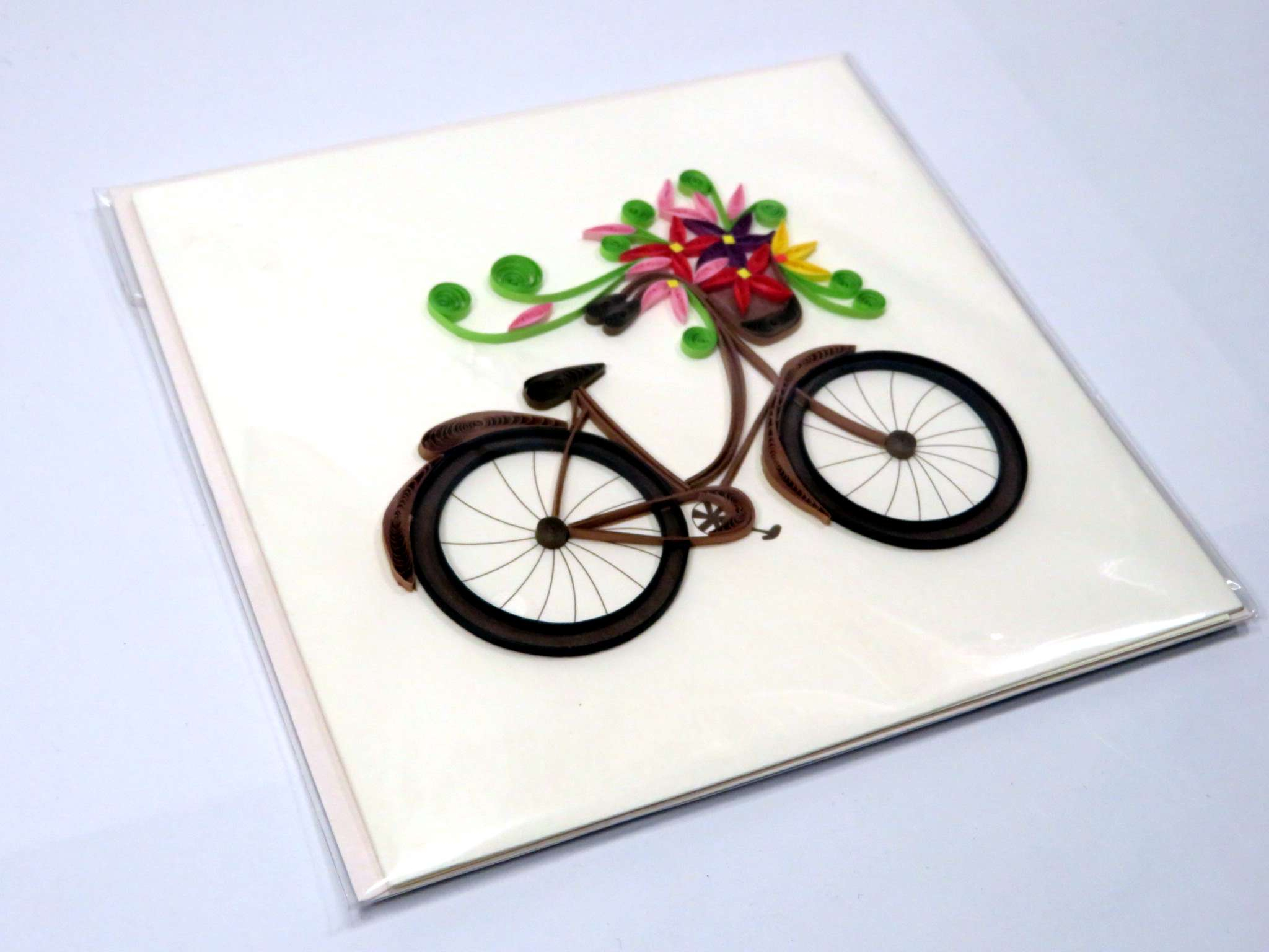 Biglietti augurali in filigrana 'Bicicletta con fiori'