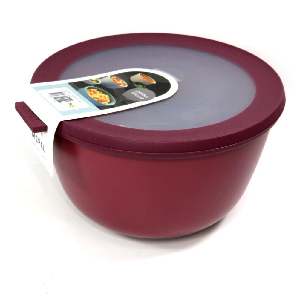 Ciotola con coperchio trasparente 2 litri rossa