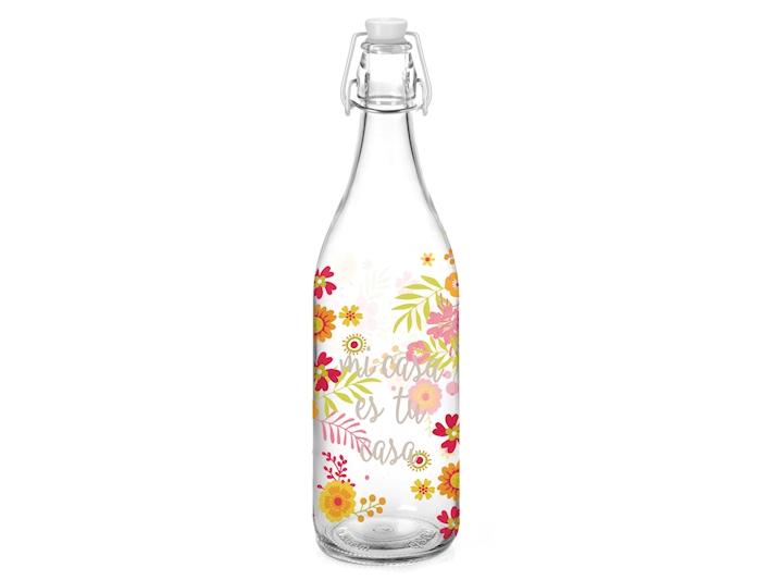 Bottiglia in vetro floreale da 1 litro