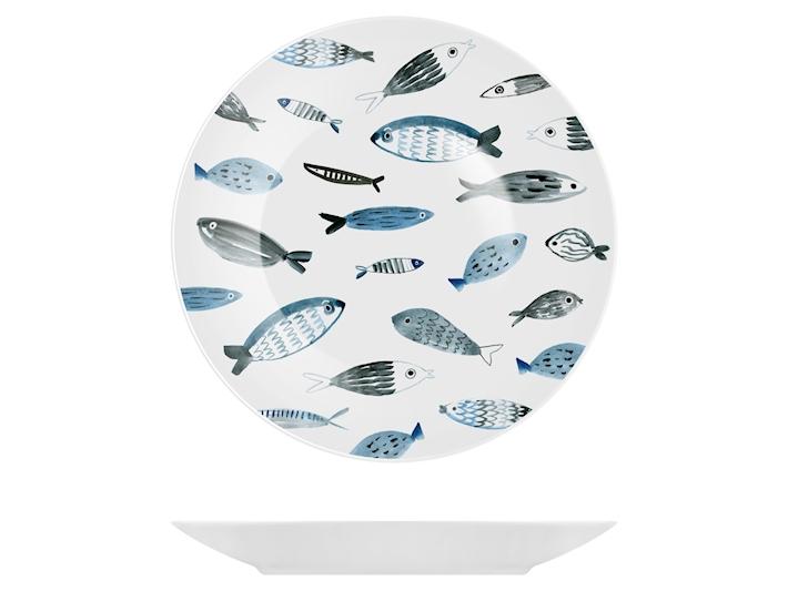 Piatto piano in porcellana decoro con pesci cm27