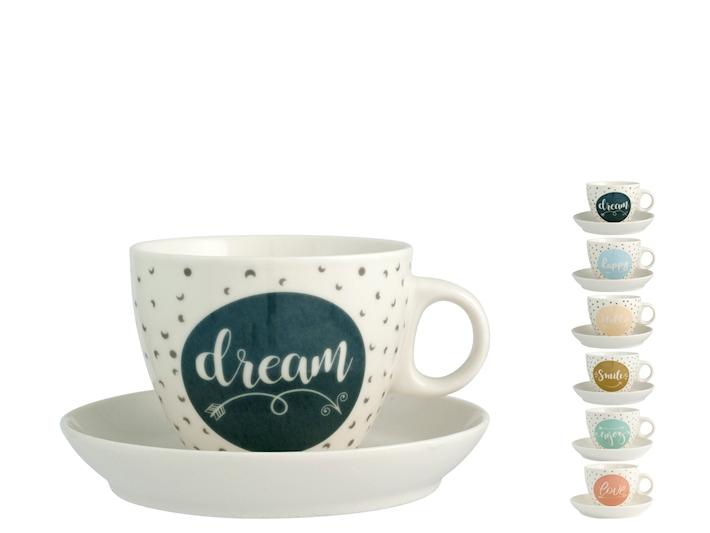 4 Tazze té in porcellana con piattino decoro Enjoy
