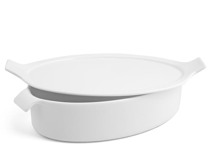 Pirofila per forno ovale bianca 17x25