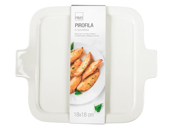 Pirofila da forno in porcellana bianca quadrata