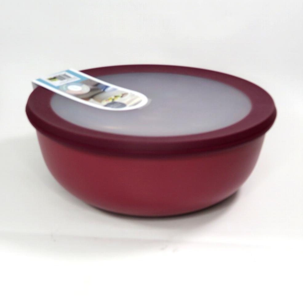 Ciotola bassa con coperchio trasparente 350ml  rossa
