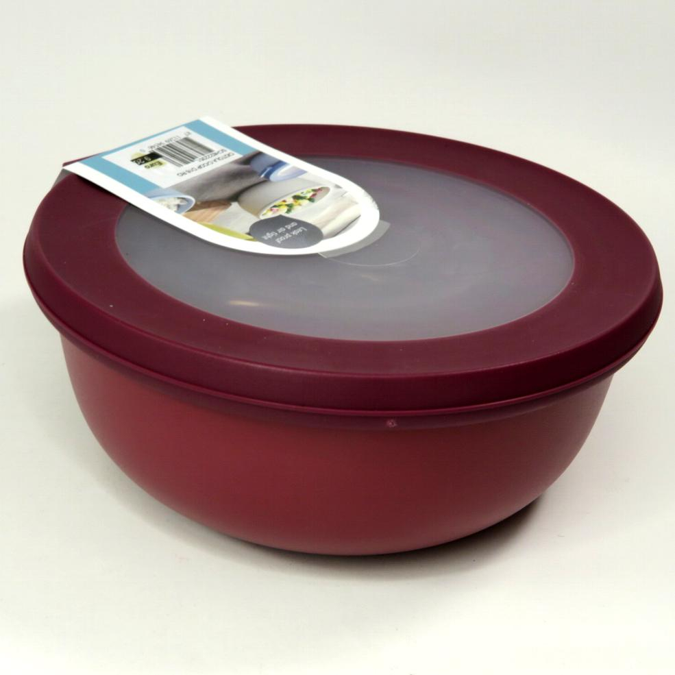 Ciotola bassa con coperchio trasparente 1250ml  rossa