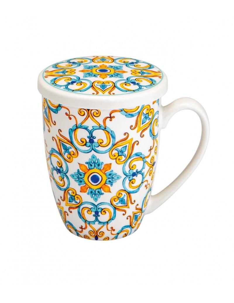 Tazza mug in porcellana con coperchio