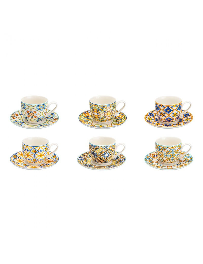 6 tazze caffè con piattino Medicea in porcellana