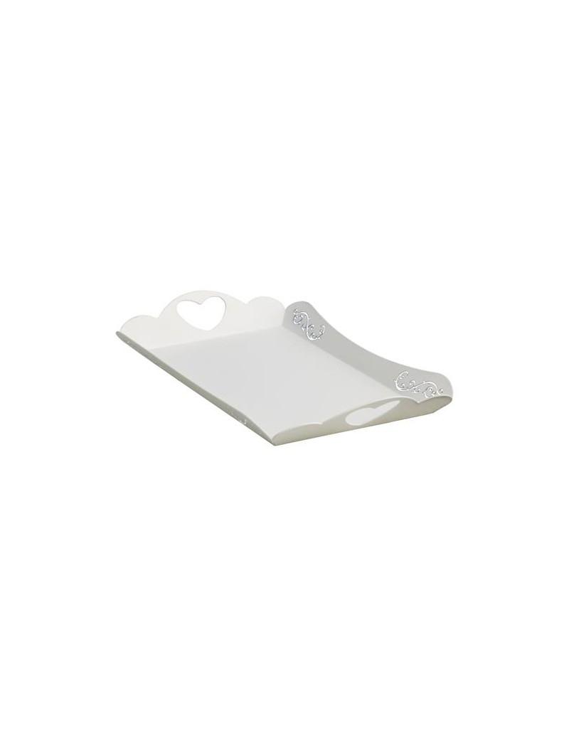 Vassoio in metallo bianco 23x16 riccioli