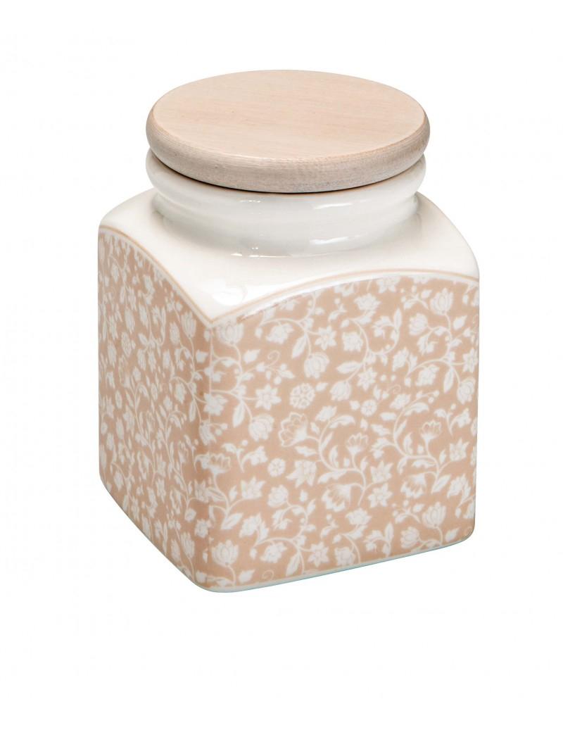 Barattolo quadrato in porcellana decorata  e coperchio in legno
