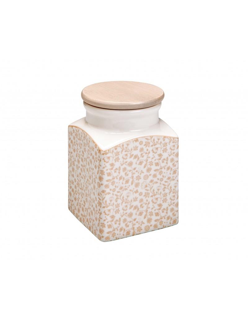 Barattolo quadrato in porcellana decorata con coperchio in legno