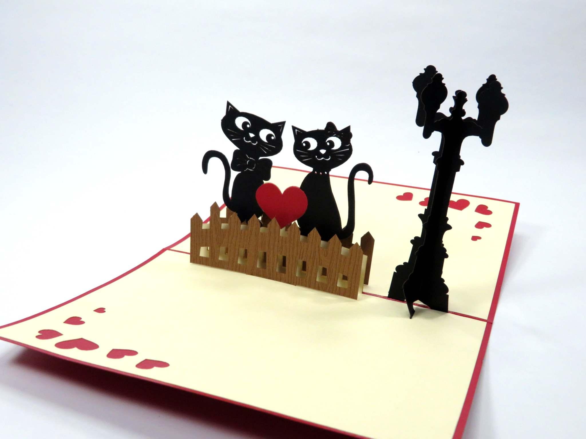 Biglietti augurali 'Gatti innamorati' Origamo