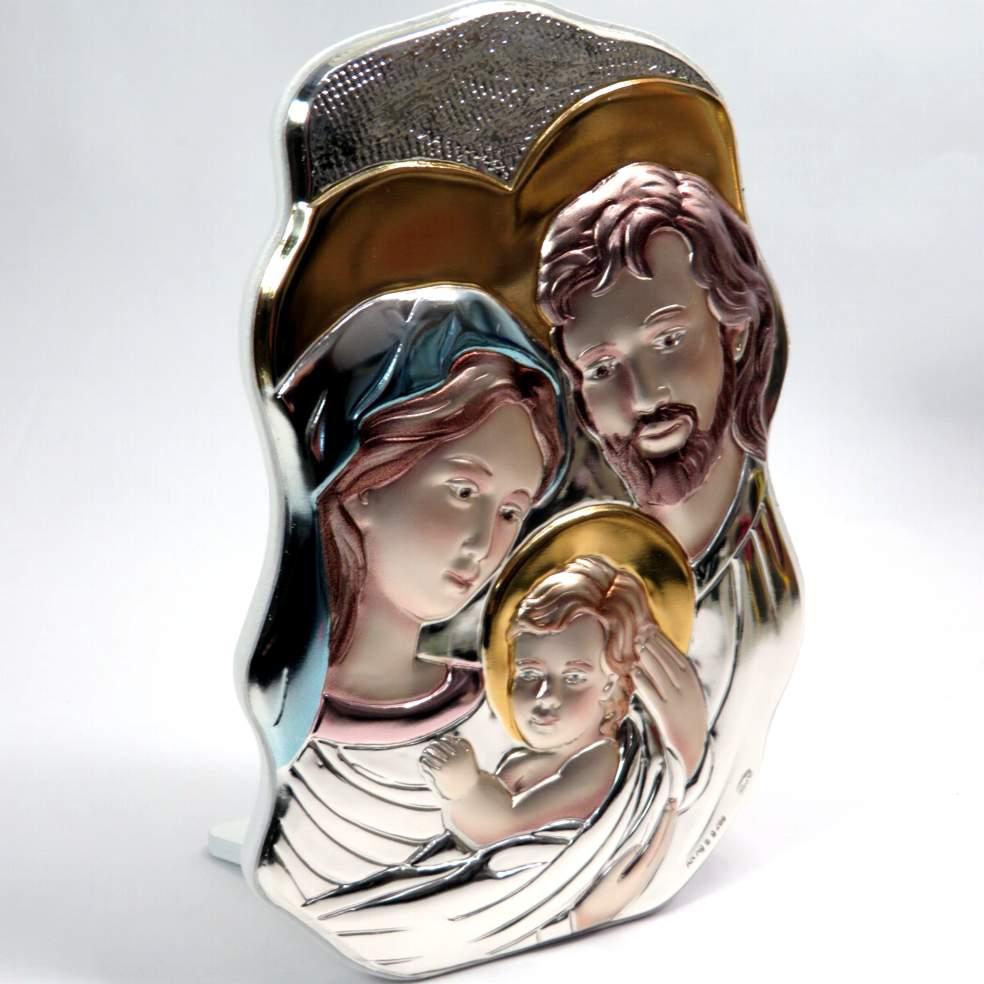 Icona sacra famiglia colorata 17cm